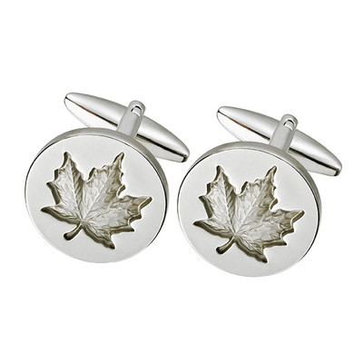 ROUND SILVER MAPLE LEAF CUFFLINKS