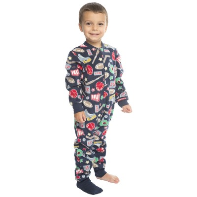 Boys footed pajamas or jumpsuit for kids  - sports - size 4