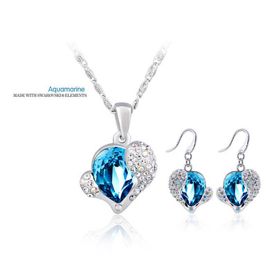 Swarovski Elements Aquamarine Crystal Heart Pendant 18 Inches & Earrings Set
