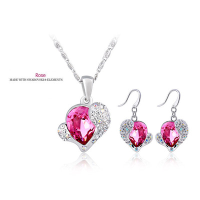 Swarovski Elements Rose Crystal Heart Pendant 18 Inches & Earrings Set