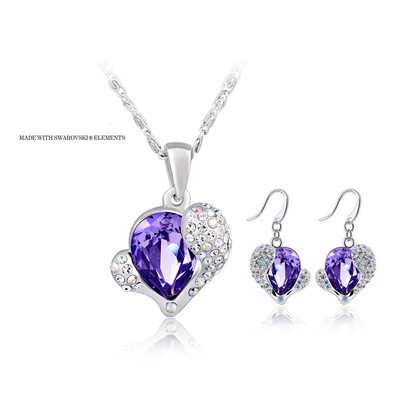 Swarovski Elements Tanzanite Crystal Heart Pendant 18 Inches & Earrings Set