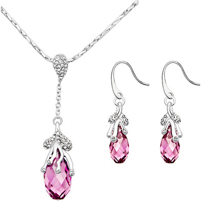 Lumax Swarovski Embellished  17.0x8.5MM Briolette Rose Drop Pendant 18 Inches and Earrings Set