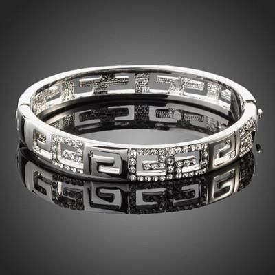 Platinum Plated Maze Cuff Bracelet