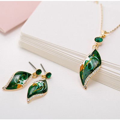 14K Gold Plated Green Canvas Painting Jewellery Set