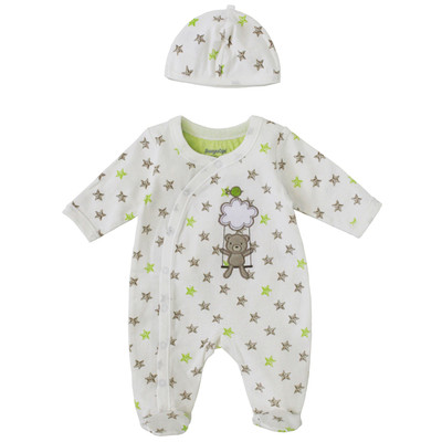 Newborn Neutral Onesie with Hat - Star Print