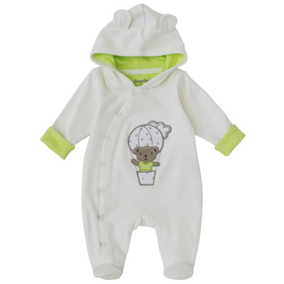 Newborn Neutral Onesie with Hood - Teddy Hooded Sleeper