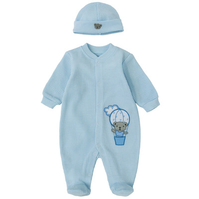 Newborn Boys Onesie with Hat - Teddy Applique