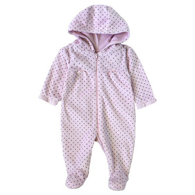 Newborn Girls Onesie with Hood - Purple Dot Print