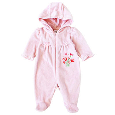 Newborn Girls Onesie with Hood - Floral Embroidery Sleeper