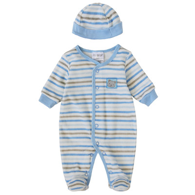 Newborn Boys Onesie with Hat - Striped Print