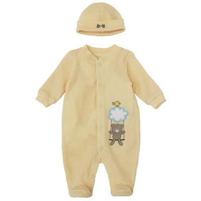 Newborn Neutral Onesie with Hat - Waffle Teddy