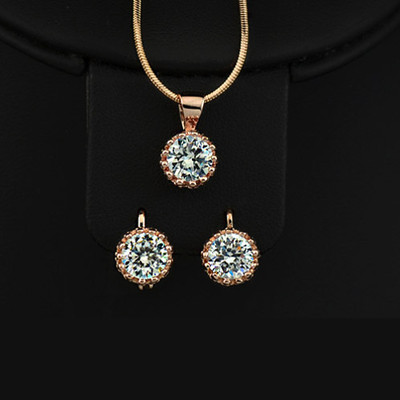 18K Rose Gold Plated 1.25 Carat Swiss Cubic Zirconia Set