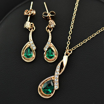 18K Gold Plated Emerald Green Jewellery Set