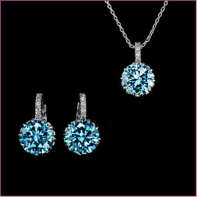 18K White Gold Plated 9mm 2.75 Carat Blue Cubic Zirconia Set
