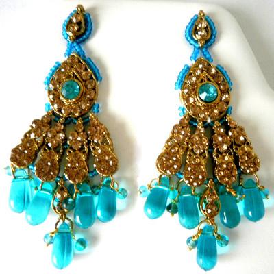 Elegant Flare Earrings - Blue + FREE Gift