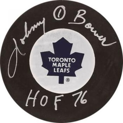 Johnny Bower Autographed Leafs Puck