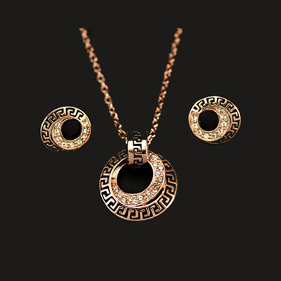 18K Rose Plated Round Engraved Pattern Jewellery Set