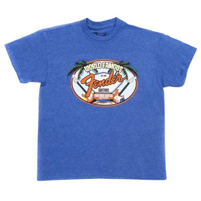 Fender World Famous Visitor's Center Preteen T-Shirt - Blue, 9-10 Years, XL - Fender - 910-3077-406