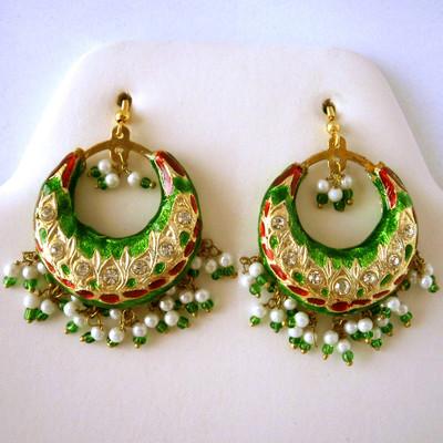 Maharani Circular Earrings - Green + FREE Gift