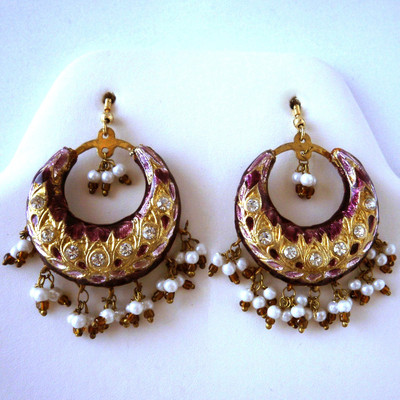 Maharani Circular Earrings - Wine + FREE Gift