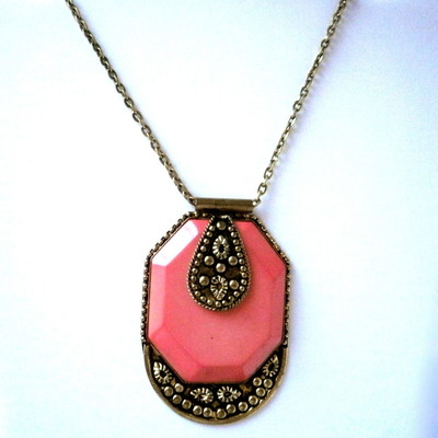 Peach Pendant With Overlay Work + FREE Gift
