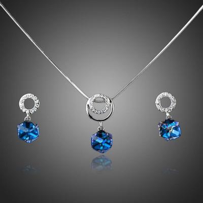 Platinum Plated Transition Cube Drop Jewellery Set
