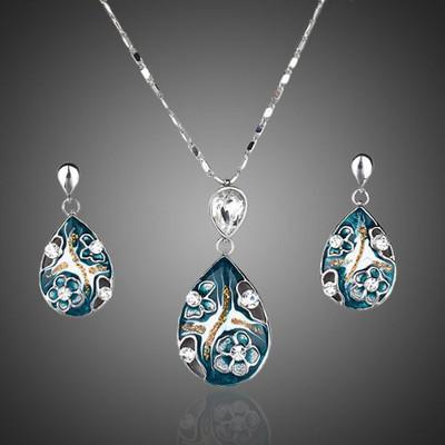 Platinum Plated Waterfall Jewellery Set