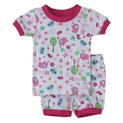 Toddler girls clothes - Two-piece Short Pajamas - Spring Print