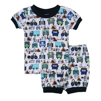 Toddler boy clothes -  2-piece Short Pajamas - Construction Print