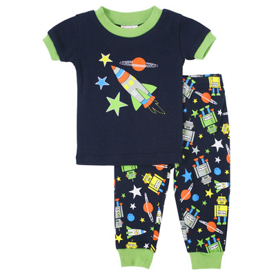 Toddler boy clothes  -  2-piece Short Pajamas -  Robots Print