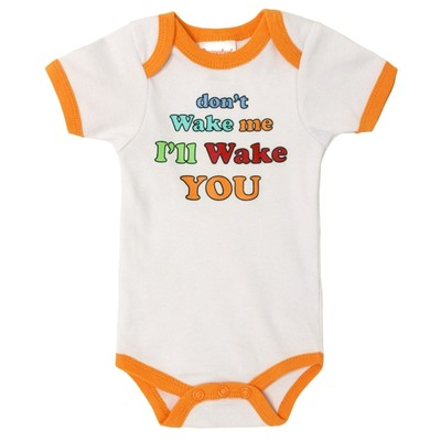 Funny Baby Onesies - White with Orange Trim - Don't Wake Me?