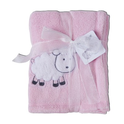 Baby Girl Blankets - Pink Plush Blanket with Lamb Applique