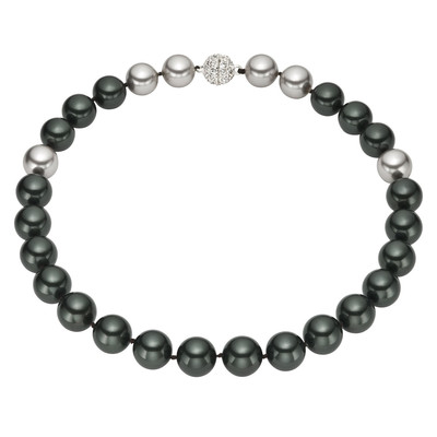 Round Black and Grey Shell Pearl Necklace with Metal Clasp (14mm)