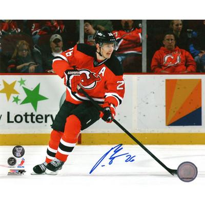 Patrik Elias Autographed 8X10 Photo (Red Jersey)