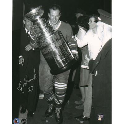 Eddie Shack Autographed 8X10 Photo (w/Cup)