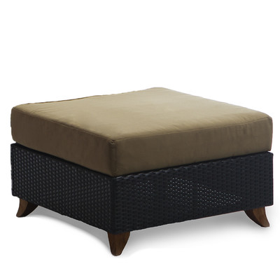 RATTAN OTTOMAN with kahki cushion
