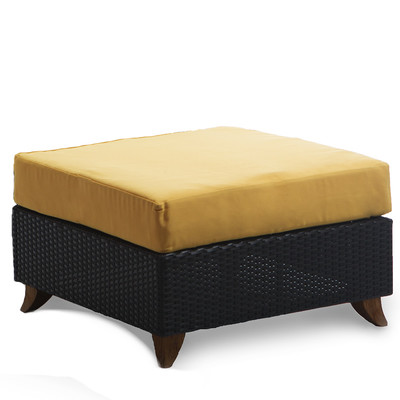RATTAN OTTOMAN with yellow cushion