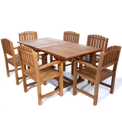 7pc. Teak Rectangle Table Dining Chair Set