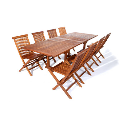 9pc. Teak Rectangle Table Folding Chair Set
