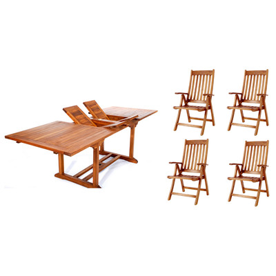 5pc. Teak Oval Table Folding Arm Chair Set