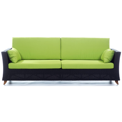 RATTAN  8 Ft. SOFA with Lime Green cushion