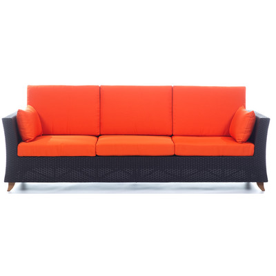 RATTAN 8 Ft. SOFA with Orange cushion