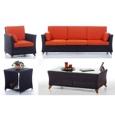 RATTAN  8 Ft. SOFA PATIO SET with Orange cushion