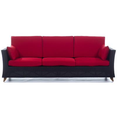 RATTAN  8 Ft. SOFA with Ruby Red cushion