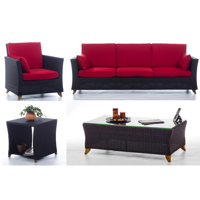 RATTAN  8 Ft. SOFA PATIO SET with Ruby Red cushion