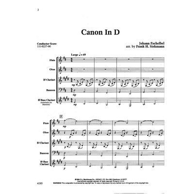 Canon in D - Woodwind quartet - C.L. Barnhouse Company - 111-0227-00