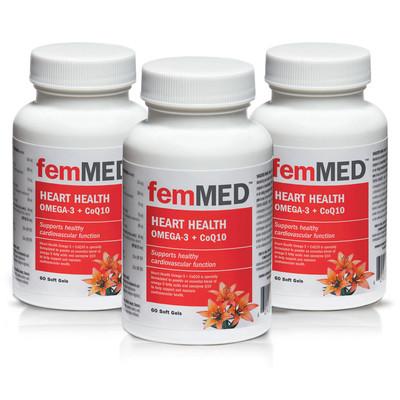 femMED Heart Health Omega-3 + CoQ10  3 pk  (3 x 60 vegetable capsules)