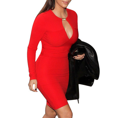 Women's Keyhole with Metal Buckle Open-Chest Bodycon Pencil Party Dress