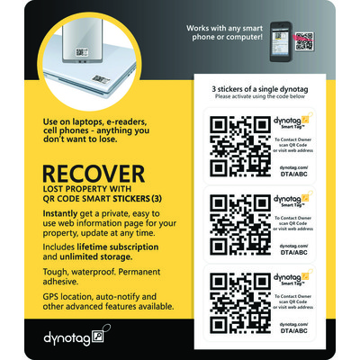 Dynotag ID Property Recovery GPS Sticker/Label (Set of 3)
