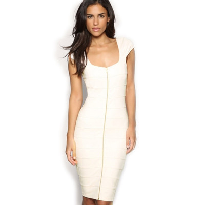 Women's Sexy Cream Zip Ladies Cap Sleeve Stretch Cocktail Party Dresses